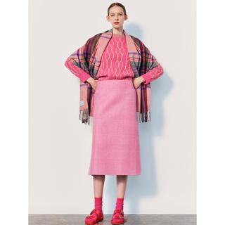 ドゥロワー(Drawer)のドゥロワー 2019FWグレンチェックスカート ピンク36(ロングスカート)