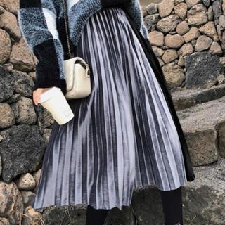ZARA - 切り替えベロアプリーツスカート