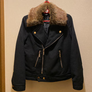 シマムラ(しまむら)のしまむら❤︎ファー付き暖かライダースジャケット 黒❤︎2way(ライダースジャケット)