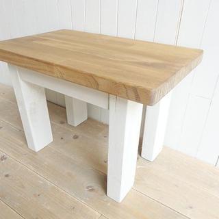 2点限り!●ミニテーブル中●シャビーホワイト天然木●受注製作(ローテーブル)