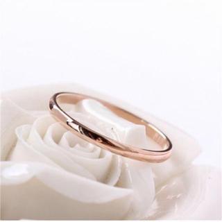 甲丸ステンレスリング 重ね付け シンプル アレルギー対応 指輪 ピンクゴールド(リング(指輪))