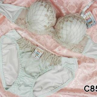 102★C85 L★美胸ブラ ショーツ 谷間メイク ダイアチェック刺繍 緑(ブラ&ショーツセット)
