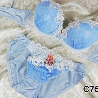 114★C75 M★美胸ブラ ショーツ Wパッド フラワー刺繍 水色(ブラ&ショーツセット)