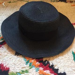 ジーユー(GU)の麦わら帽子 ストローハット ブラック gu 女優帽(麦わら帽子/ストローハット)