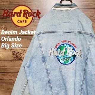 《人気商品》ハードロックカフェ デニムジャケット オーランド ビッグ刺繍ロゴ(Gジャン/デニムジャケット)