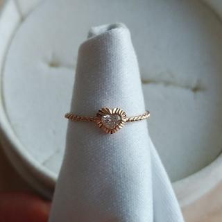 avaron ハートシェイプダイヤリング K18ピンクゴールド 8号 美品(リング(指輪))