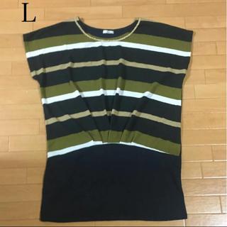 美品 Tシャツ カットソー L 大きいサイズ ボーダー グリーン (Tシャツ(半袖/袖なし))
