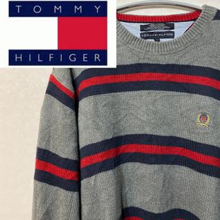 トミーヒルフィガー(TOMMY HILFIGER)のトミーヒルフィガー ニット セーター ボーダー フルジョ グレー レッド(ニット/セーター)