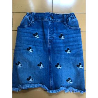 GU - GU 超大型店限定 ディズニー ミッキー 刺繍 デニムスカート  150cm