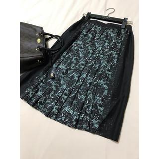 プラダ(PRADA)の美品 PRADA シルク 柄 スカート レース プラダ(ひざ丈スカート)