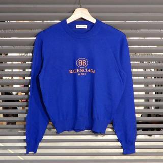 バレンシアガ(Balenciaga)の新品同様 バレンシアガ ニット セーター クルーネック ブルー ロゴ(ニット/セーター)