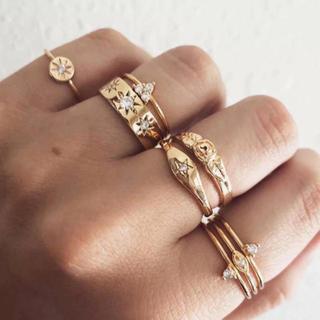 リリーブラウン(Lily Brown)の新品 アンティーク調 ゴールド レトロ 古着屋 指輪 重ね付け 7個セット(リング(指輪))