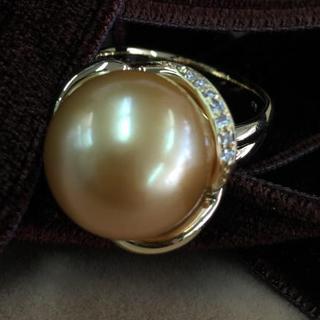 K18 ゴールデンパール ダイヤモンド リング(リング(指輪))