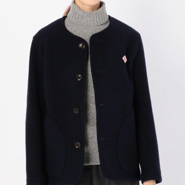 DANTON(ダントン)のダントン ウールモッサ カラーレスジャケット ネイビー 26400円 レディースのジャケット/アウター(ノーカラージャケット)の商品写真