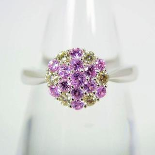 K18WG ピンクサファイア ダイヤモンド リング 12.5号 [g108-1](リング(指輪))