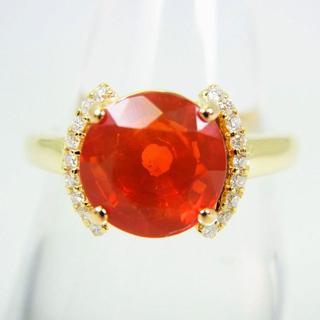 K18 ファイヤーオパール ダイヤモンド リング 14号 [g108-4](リング(指輪))