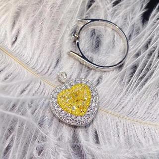 Gia2.1ct♡豪華ハートイエローダイヤモンド指輪(リング(指輪))