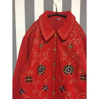 flower - ビンテージ 刺繍 ジャケット