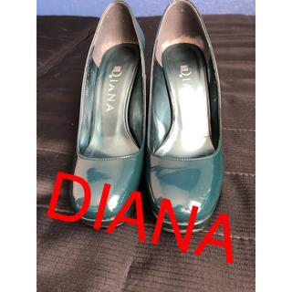 ダイアナ(DIANA)のDIANA ダイアナ エナメル パンプス グリーン 21.5センチ(ハイヒール/パンプス)