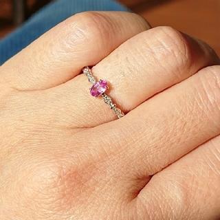 ピンクサファ、ダイヤリング(リング(指輪))
