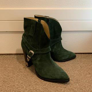 トーガ(TOGA)のTOGA PULLA ベルト付きショートブーツスエードグリーン トーガ プルラ(ブーツ)