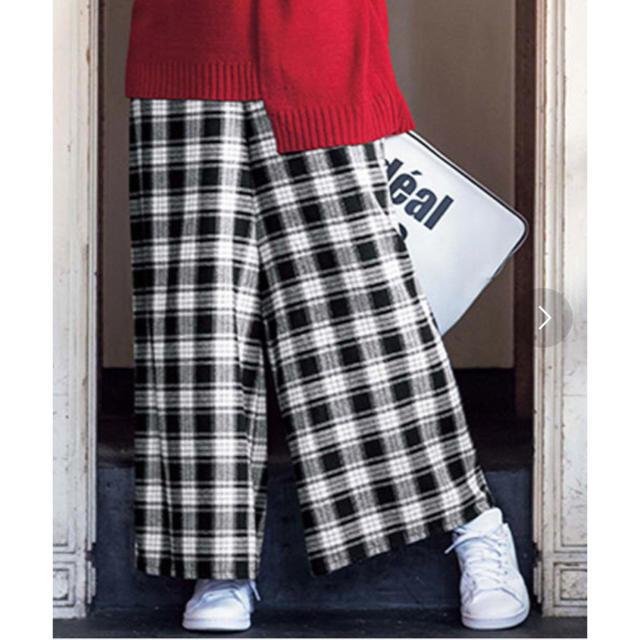 しまむら(シマムラ)の新品ベルーナリュリュ黒チェック柄ワイドパンツ レディースのパンツ(カジュアルパンツ)の商品写真