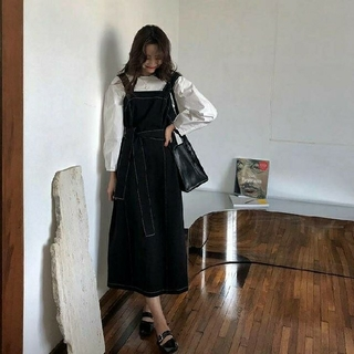 ザラ(ZARA)の【韓国ファッションNo.1】ブラック ステッチ ジャンパースカート(ロングワンピース/マキシワンピース)
