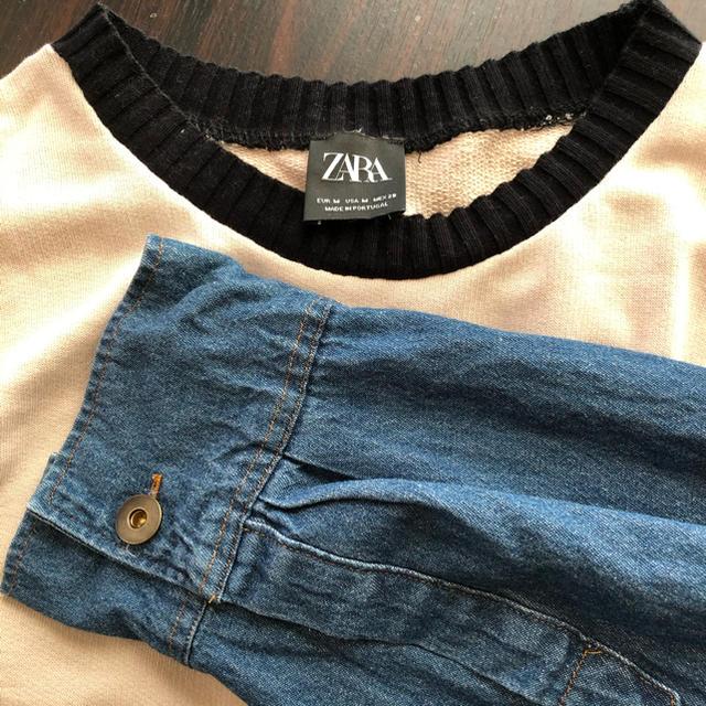 ZARA(ザラ)の【ZARA】デニム袖 トップス レディースのトップス(カットソー(長袖/七分))の商品写真