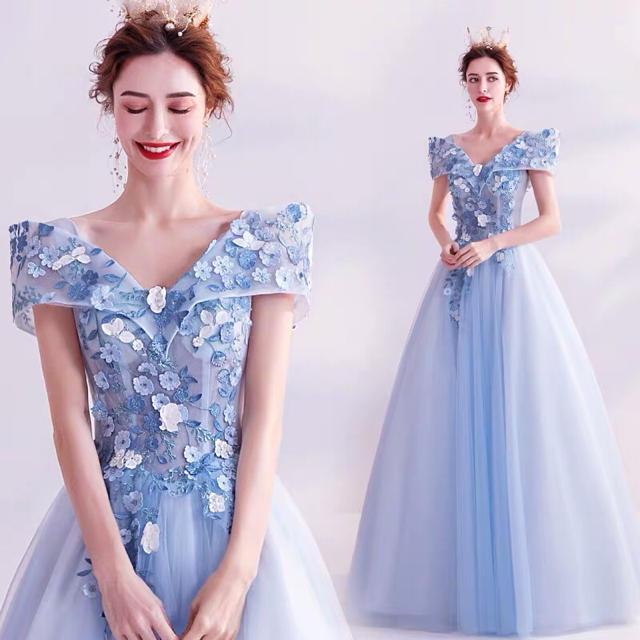 花が咲くパステルファッショナブルな妖精スタイルブルーの花嫁 イブニングドレス レディースのフォーマル/ドレス(ロングドレス)の商品写真