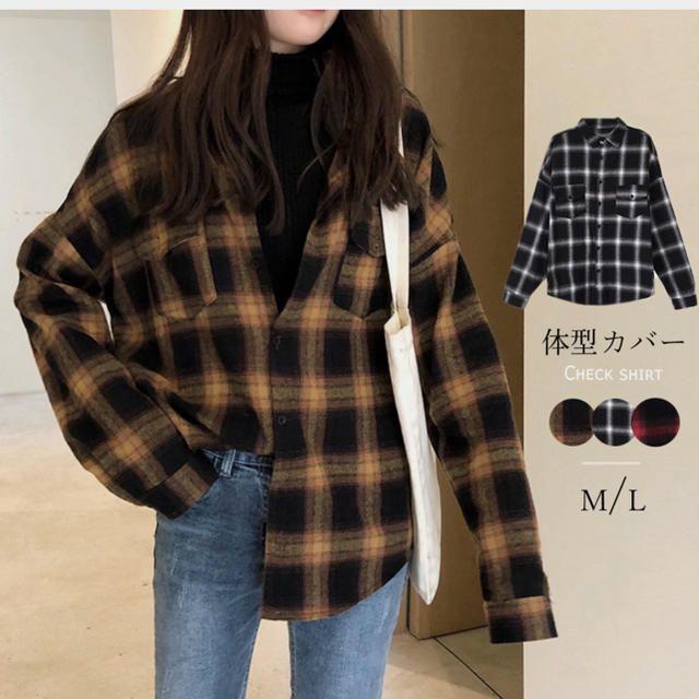 チェックシャツ レディース ネルシャツ 長袖 シャツブラウス ゆったり レディースのトップス(シャツ/ブラウス(長袖/七分))の商品写真