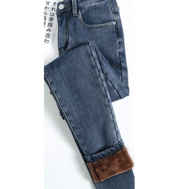 パンツ デニム 裏起毛 ボトムス レディース きれいめ 通勤 ストレッチ 29 レディースのパンツ(デニム/ジーンズ)の商品写真