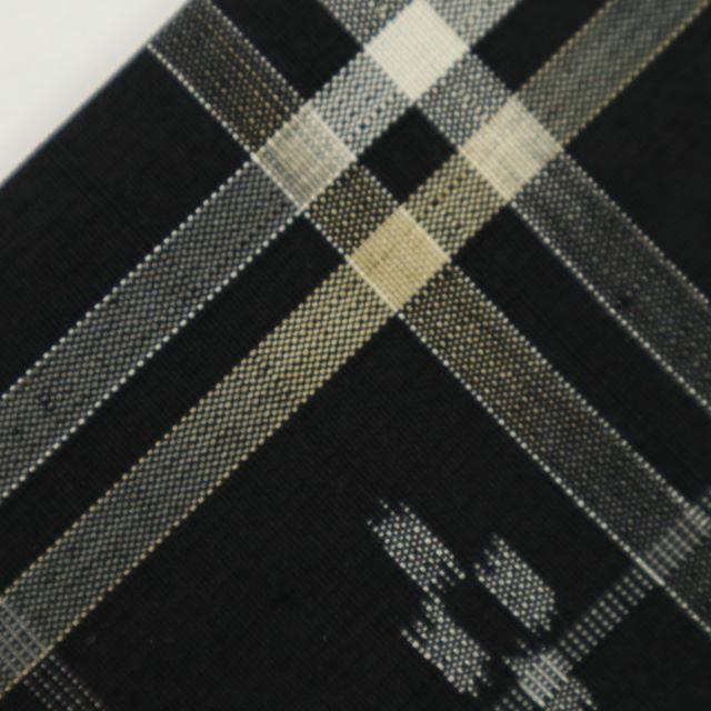 《特選紬■同抜き仕立て*格子に絣文様小紋■黒地◆袷正絹着物◆TB11-10》 レディースの水着/浴衣(着物)の商品写真