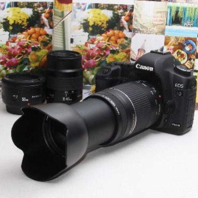Canon(キヤノン)の❤️予備バッテリー付き❤️Canon 5D mark II トリプルレンズ❤️ スマホ/家電/カメラのカメラ(デジタル一眼)の商品写真