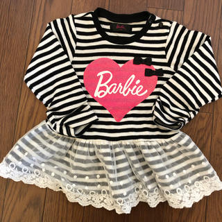 Barbie - Barbie 長袖ボーダートップス 90サイズ