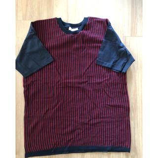 ザショップティーケー(THE SHOP TK)のニット Tシャツ【タケオキクチ 】赤のストライプ(ニット/セーター)