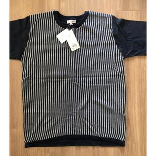 ザショップティーケー(THE SHOP TK)のニット Tシャツ【タケオキクチ 】紺色ストライプ(ニット/セーター)