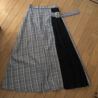 axes femme - チェック柄切り替えプリーツロングスカート  タグ付き未使用です
