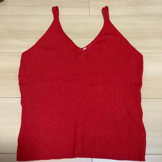 エイチアンドエム(H&M)のニットキャミ 赤 レッド(ニット/セーター)
