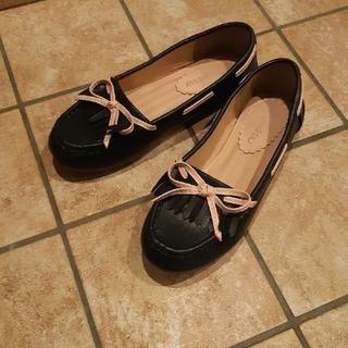 グッディgoodday紺ネイビー×ピンクローファー22センチ(ローファー/革靴)