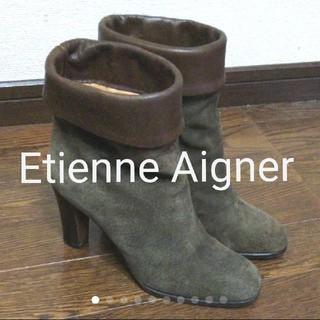 エティエンヌアイグナー(Etienne Aigner's)のEtienne Aigner/折り返しレザー×スエードショートブーツ(ブーツ)