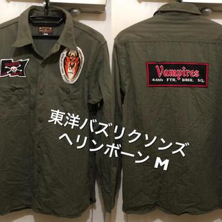 バズリクソンズ(Buzz Rickson's)のMサイズ相当!日本製バズリクソンズ 古着長袖ミリタリーワークシャツ ヘリンボーン(シャツ)