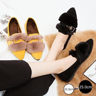 ♥ ファーパンプス 靴 秋冬 ローヒール ファー付き シューズ 韓国 ぺたんこ(ハイヒール/パンプス)