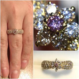 秘蔵っ子!k18天然インテンスピンクダイヤに取り巻きがギラギラの王冠リング(リング(指輪))