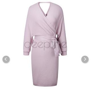 ニットワンピース  ピンク色(ロングワンピース/マキシワンピース)