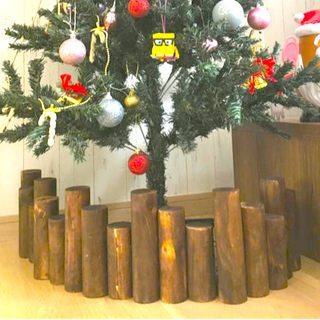 スタディオクリップ(STUDIO CLIP)のクリスマス ツリー クリスマスツリー ナチュラル 丸太 切り株 ウッド(インテリア雑貨)