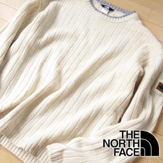 ザノースフェイス(THE NORTH FACE)のウール100 美品 XL ノースフェイス メンズ ニット アイボリー(ニット/セーター)