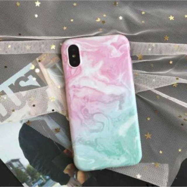 iPhoneX iPhone xs バイカラー 大理石柄 可愛い ケース スマホ/家電/カメラのスマホアクセサリー(iPhoneケース)の商品写真