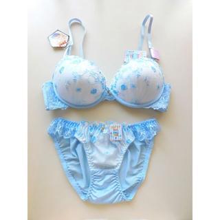 新品♥ブルー&ホワイト ローズ刺繍ブラ&ショーツセット D75 ノンワイヤー(ブラ&ショーツセット)