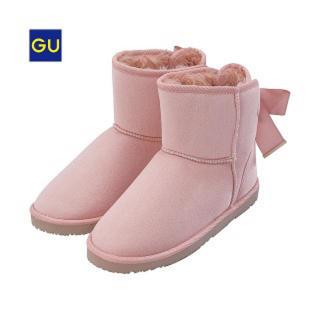 GU - GU リボン付きムートンブーツ ピンク
