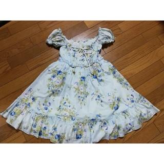 LIZ LISA - リズリサ 可愛い 花柄 編み上げ リボン パフスリーブ ワンピース ブルー